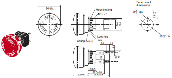a165e emergency stop switch  16 dimensions